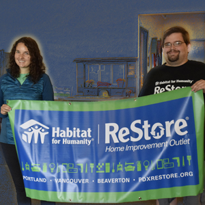 image of Anna Pasterz and Will Liebo holding ReStore banner