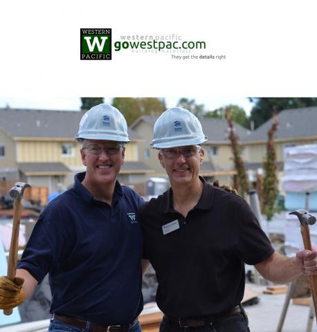 Jeff Johnson (WestPac) and Mike Hart (Union Bank), Habitat Executive Build, October 2015